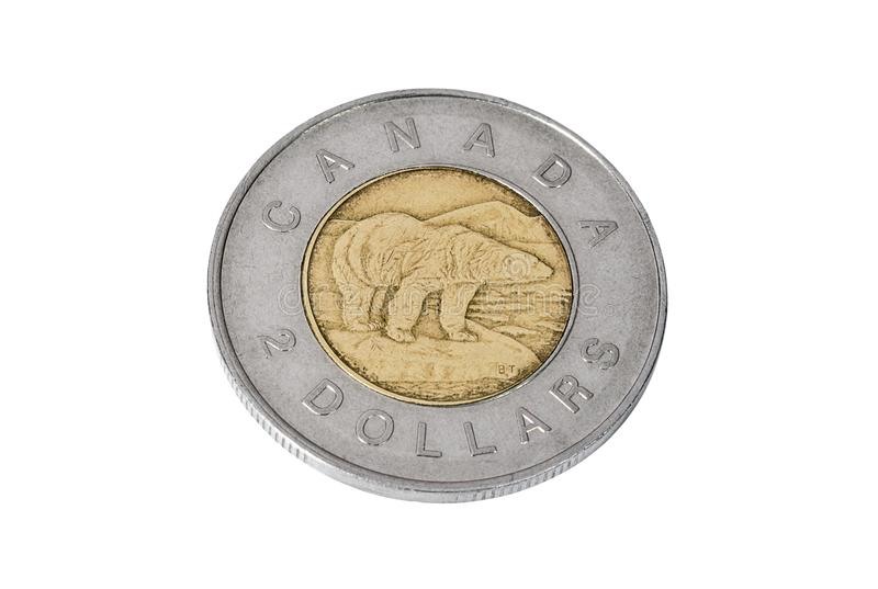 Pièce de monnaie de deux dollars canadiens image libre de droits