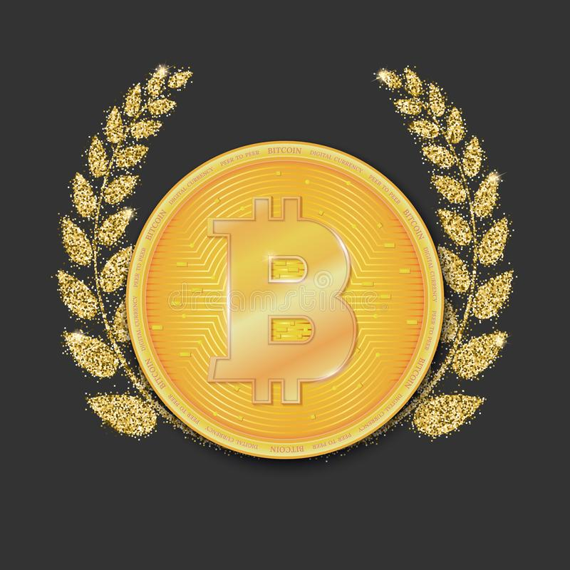 Pièce de monnaie de devise virtuelle Bitcoin Icône, symbole d'or d'argent de bitcoin sur le fond foncé avec la guirlande de lauri illustration stock