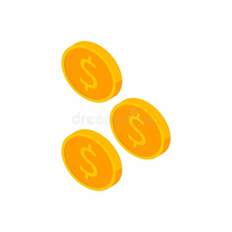 Pièce de monnaie, dollar, isométrique, pile d'argent, finances, affaires, vecteur, icône plate illustration de vecteur