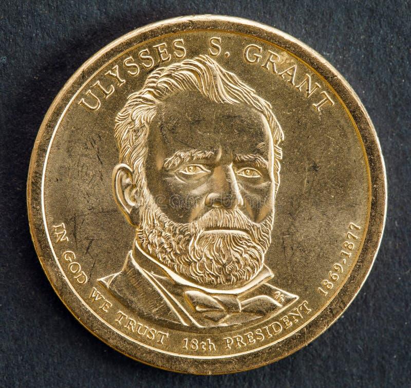 pièce de monnaie du 1 dollar avec l'image d'Ulysse S Grant, 18ème président des Etats-Unis d'Amérique images stock