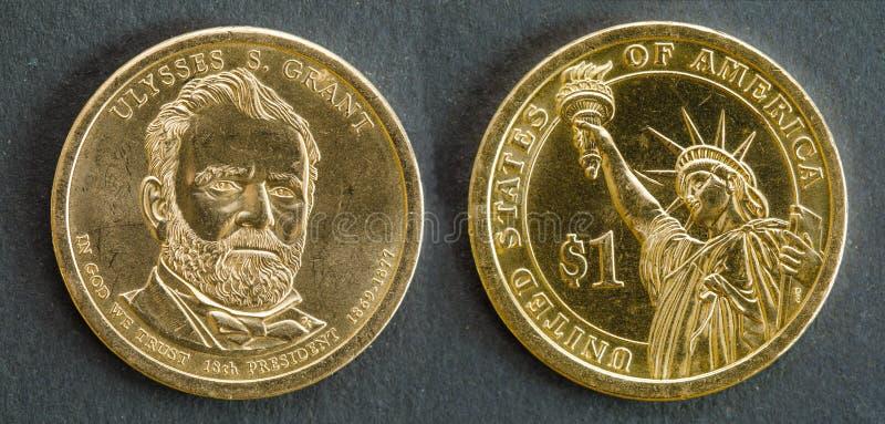 pièce de monnaie du 1 dollar avec l'image d'Ulysse S Grant, 18ème président des Etats-Unis d'Amérique photos libres de droits