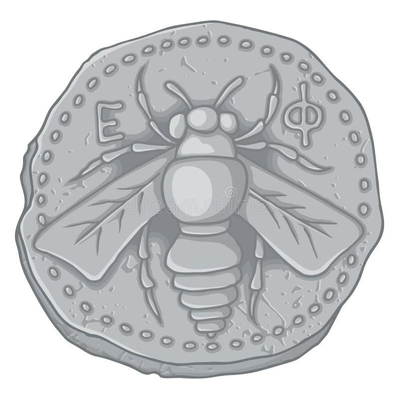 Pièce de monnaie d'abeille de miel illustration stock
