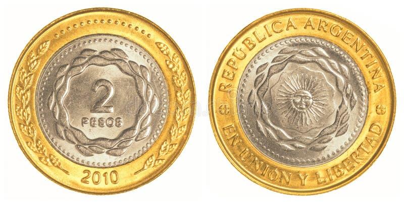 pièce de monnaie du peso 2 argentin photographie stock libre de droits