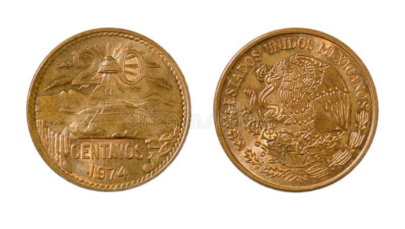 Pièce de monnaie en cuivre mexicaine de 20 cents, les deux côtés photos libres de droits