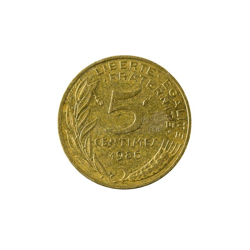 pièce de monnaie française 1986 de 5 centimes d'isolement photographie stock libre de droits