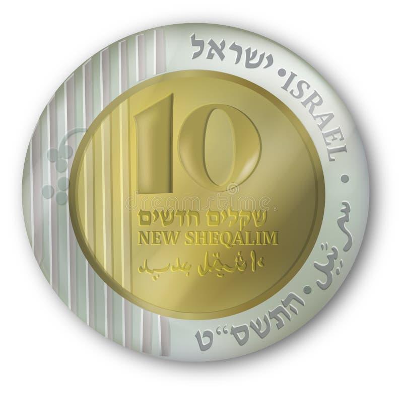 Pièce de monnaie israélienne de devise illustration libre de droits