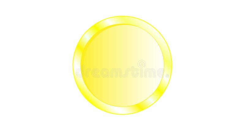 Pièce de monnaie jaune iridescente en métal d'or belle avec les bords volumineux sans face, sans visage, sans inverse sur un dos  illustration de vecteur