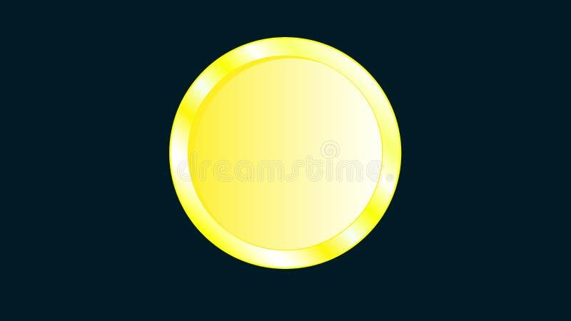 Pièce de monnaie jaune iridescente en métal d'or belle avec les bords volumineux sans face, sans visage, sans inverse sur une obs illustration stock
