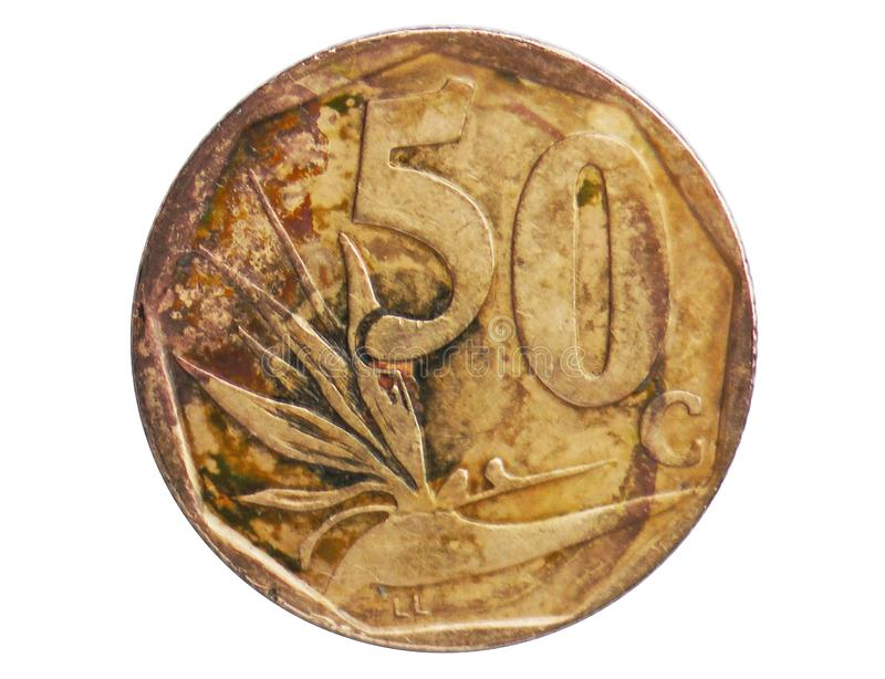 Pièce de monnaie de légende de 50 Sotho des cents AFRIKA BORWA, 1994~Today - deuxième République - serie de circulation, banque d images stock