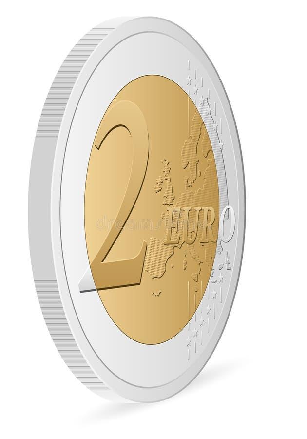 Pièce de monnaie de l'euro deux illustration de vecteur