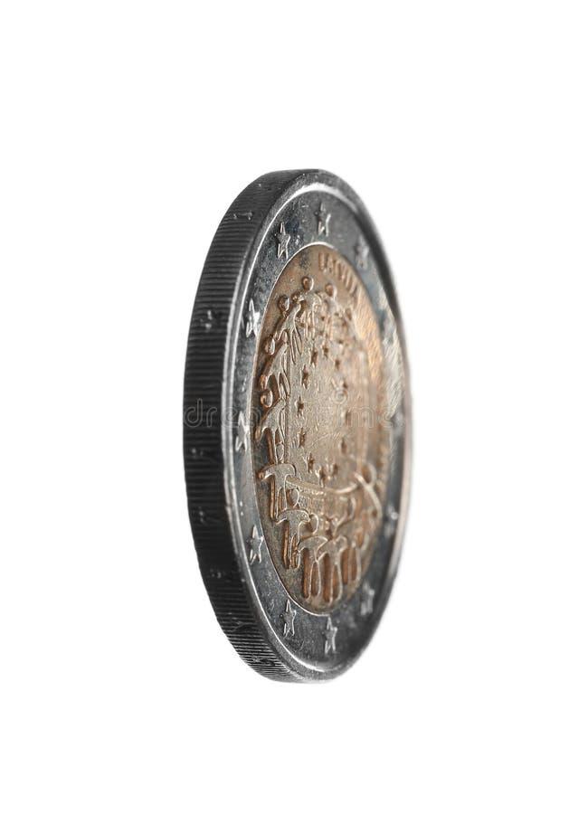 Pièce de monnaie letton de l'euro deux photos libres de droits