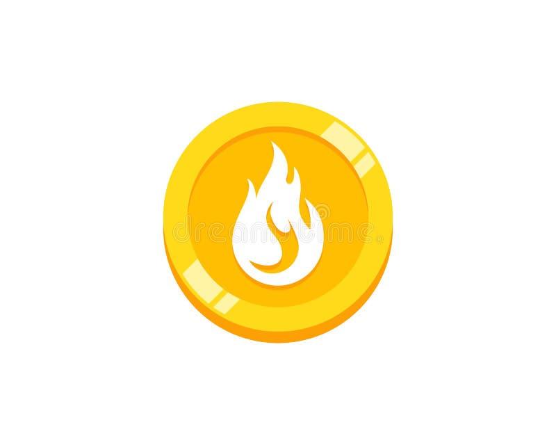 Pièce de monnaie Logo Icon Design de brûlure illustration de vecteur