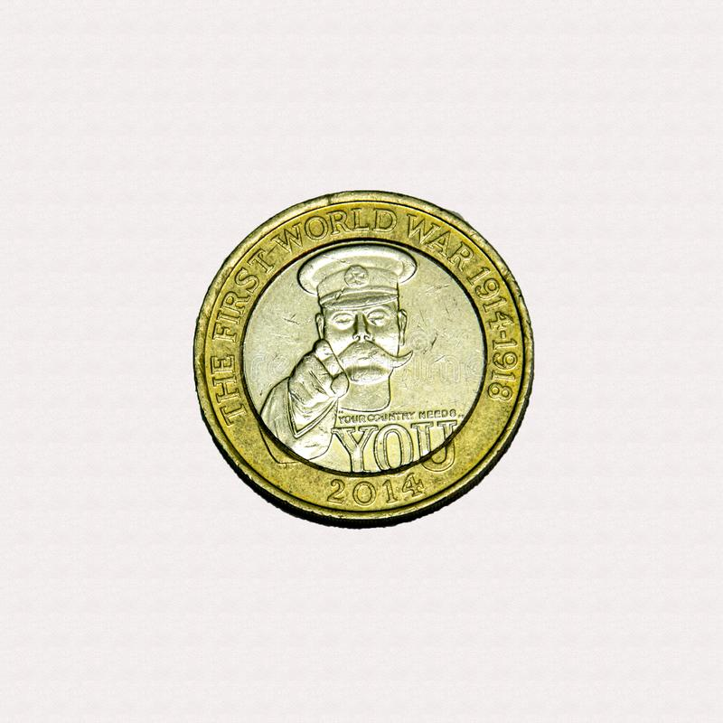 Pièce de monnaie de Lord Kitchener £2 photo stock