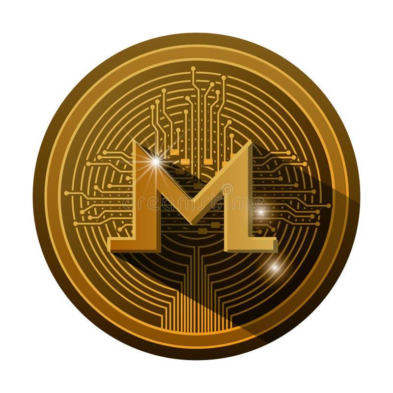 Pièce de monnaie de monero de Cryptocurrency avec des lignes de circuit images libres de droits