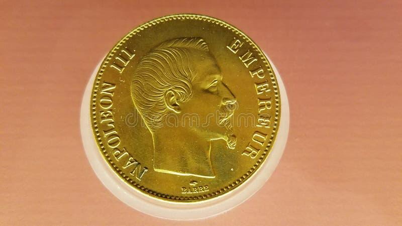 Pièce de monnaie Notre Dame Crypte Archeologique du napoléon III Empereur images stock
