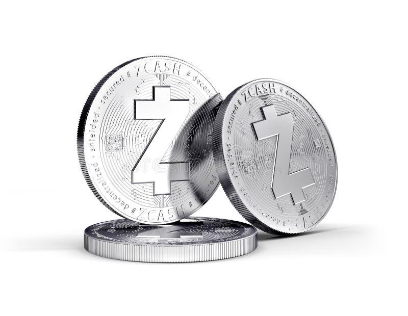 Pièce de monnaie physique de concept de cryptocurrency de Zcash d'isolement sur le fond blanc illustration de vecteur