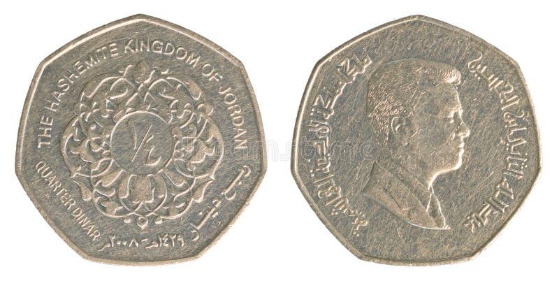 Pièce de monnaie quarte de dinar jordanien images libres de droits