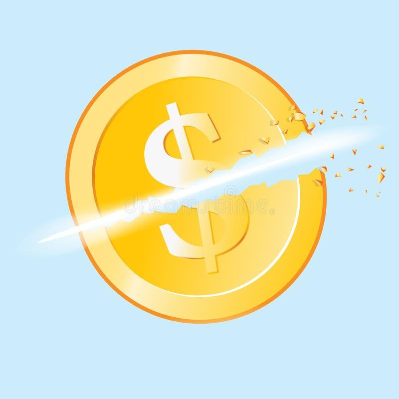 Pièce de monnaie réduite du dollar illustration stock