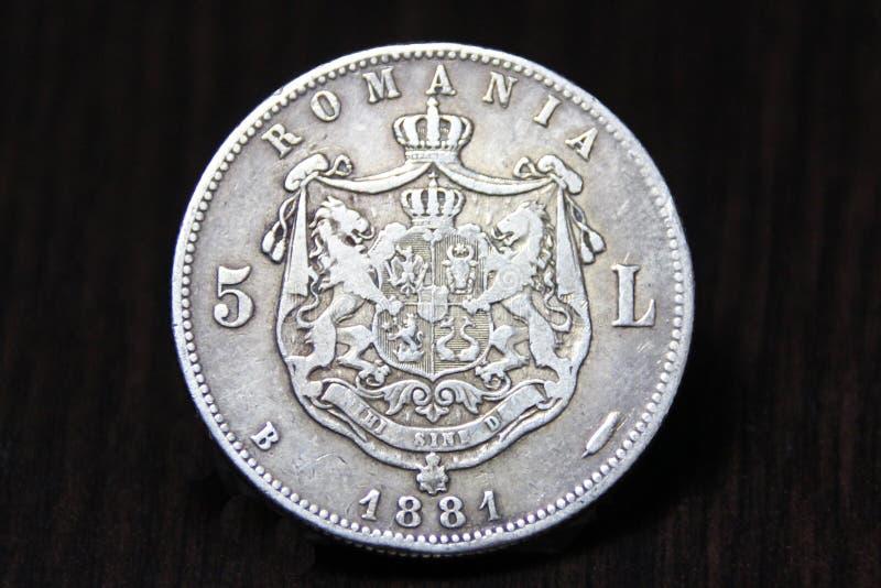 Pièce de monnaie roumaine vierge Pièce en argent de Carol I 5 Lei 1881 photo stock