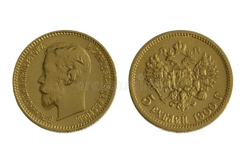 Pièce de monnaie russe antique de 1900 (or), d'isolement photo libre de droits
