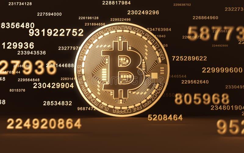 Pièce de monnaie virtuelle Bitcoin et chiffres illustration libre de droits