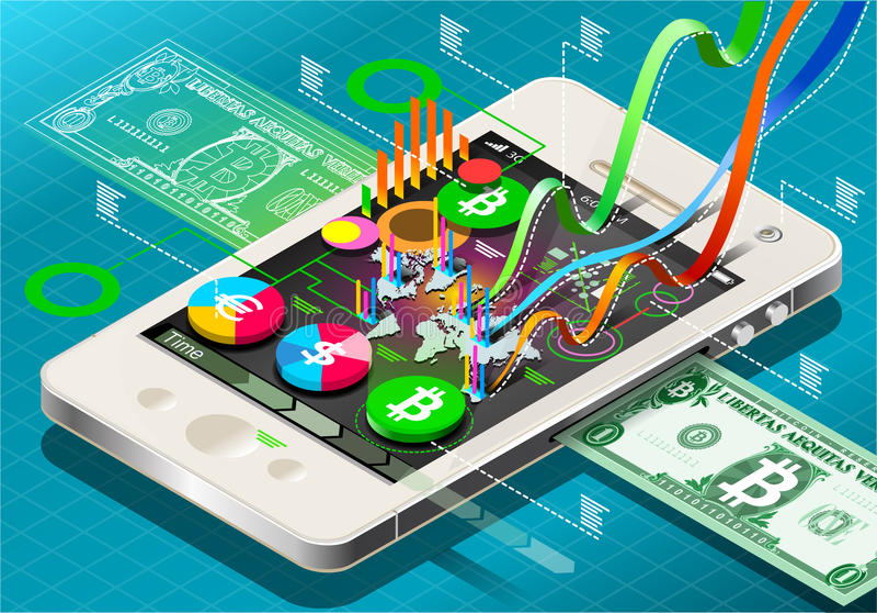 Pièce de monnaie virtuelle isométrique Infographic au téléphone portable illustration de vecteur