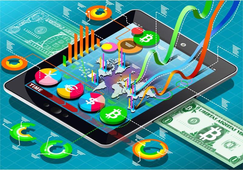 Pièce de monnaie virtuelle isométrique Infographic sur la Tablette illustration libre de droits