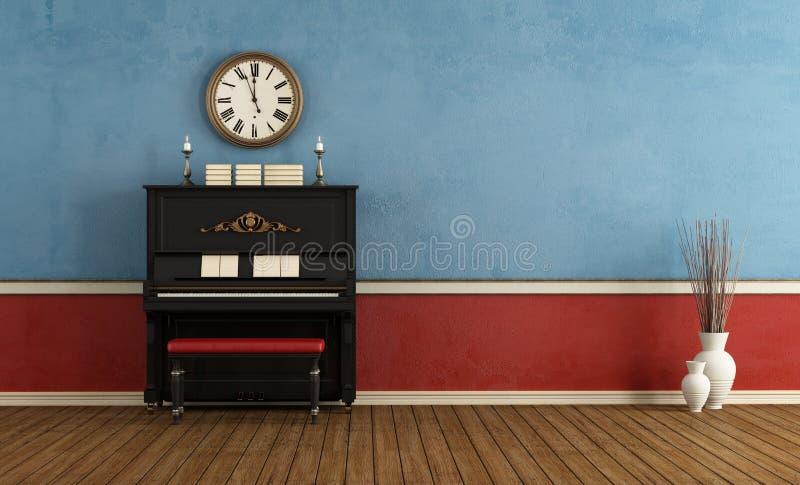 Pièce de musique avec le piano vertical noir illustration libre de droits