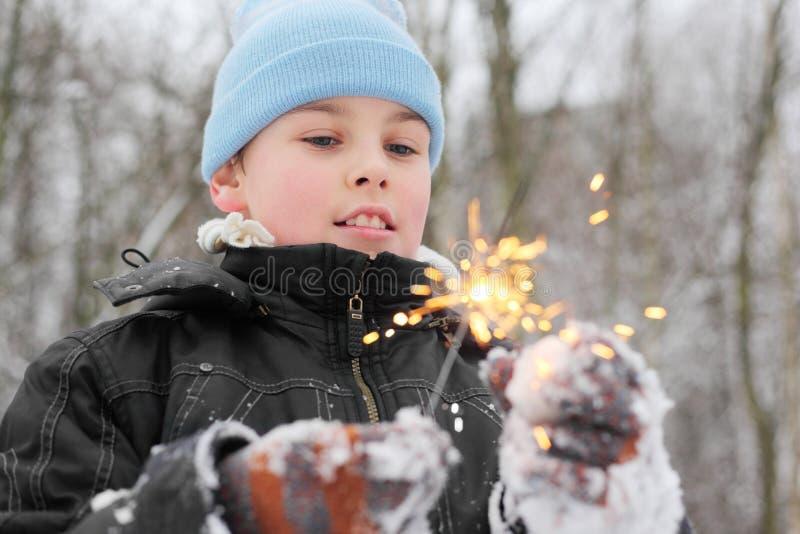 Pièce de petit garçon avec le sparkler dans la forêt images stock