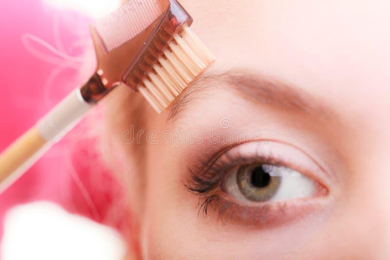 Pièce de plan rapproché de détail de maquillage d'oeil de visage de femme photos libres de droits