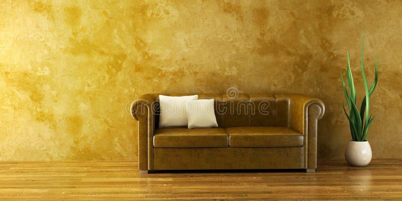 Pièce de salon avec le divan en cuir illustration stock