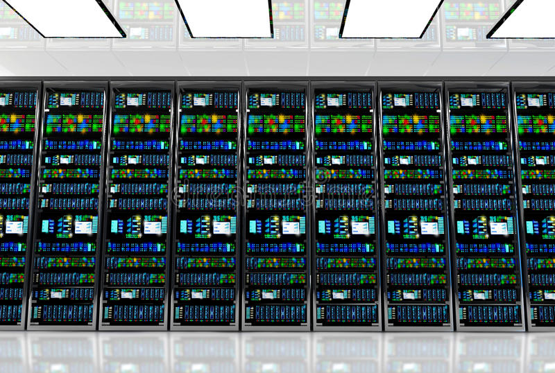 Pièce de serveur dans le datacenter, pièce équipée des serveurs de données illustration stock
