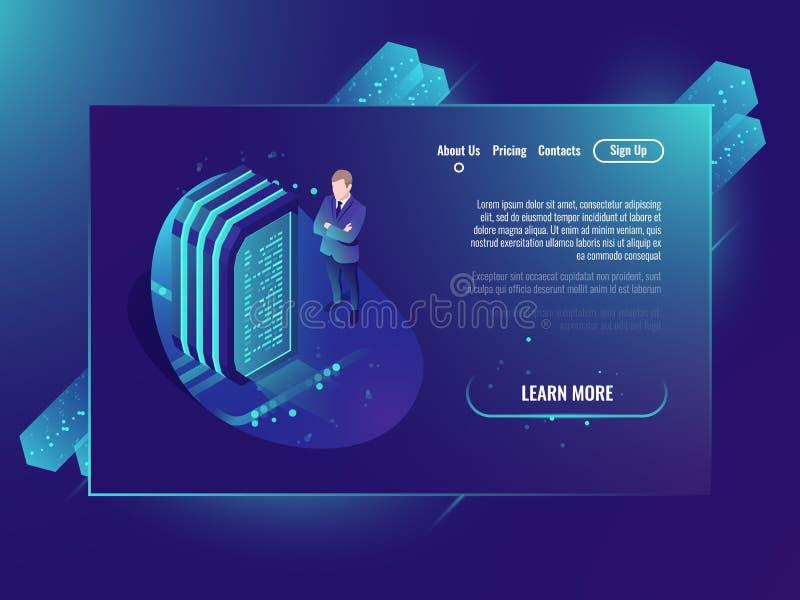 Pièce de serveur, dossiers de stockage de nuage, centre de traitement des données et réseau futuriste, accueil de Web et néon iso illustration de vecteur