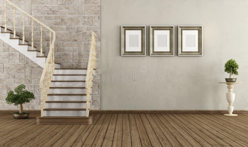 Pièce de vintage avec l'escalier de vintage illustration libre de droits