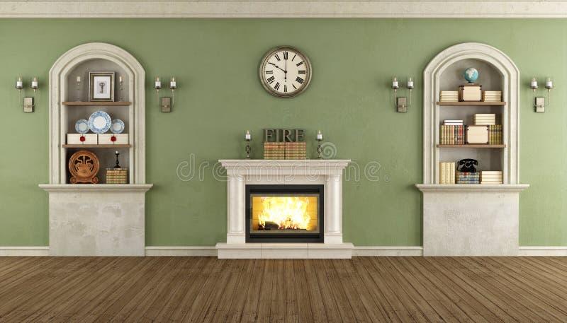 Pièce de vintage avec le créneau et la cheminée illustration stock
