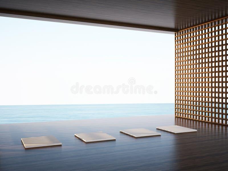 Pièce de yoga de zen dans l'espace de régions côtières illustration libre de droits