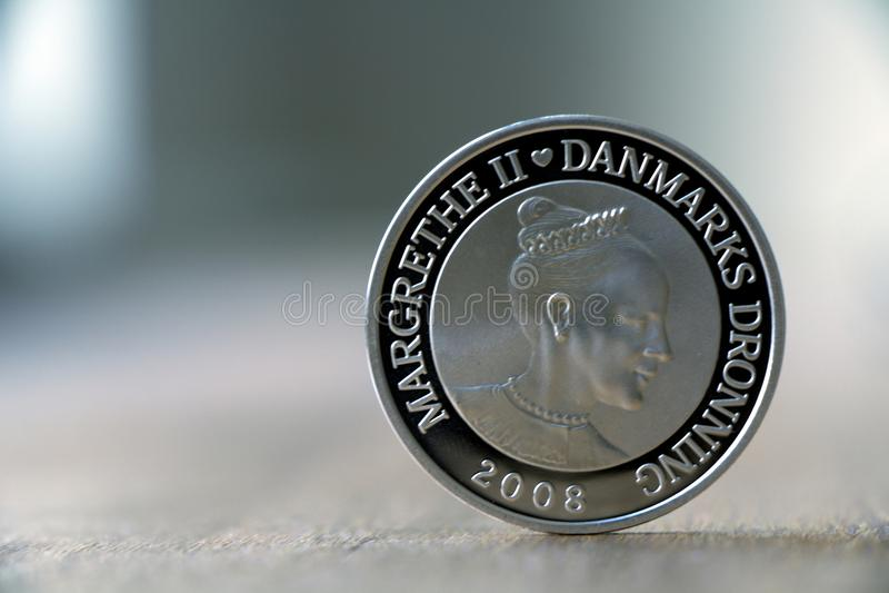 Pièce en argent danoise avec la reine danoise image libre de droits