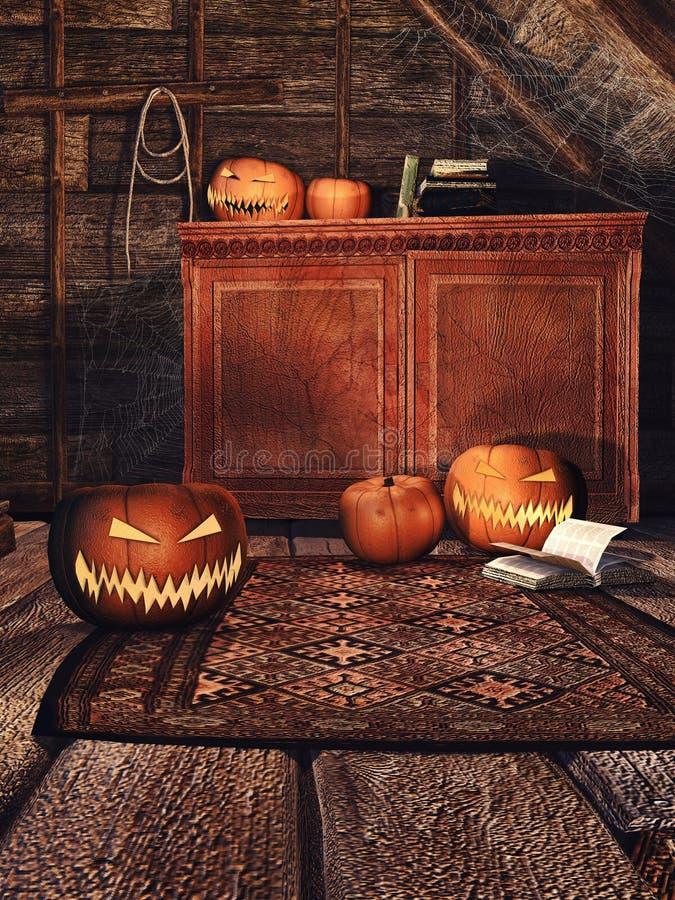Pièce en bois avec des potirons illustration de vecteur