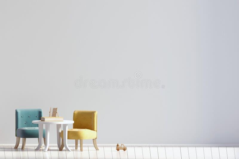 Pièce en pastel du ` s d'enfant playroom Style moderne illustration 3D MOIS illustration stock