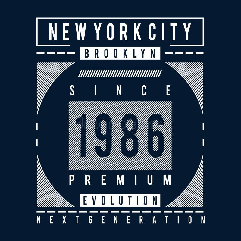 Pièce en t de conception de typographie d'évolution de Brooklyn illustration libre de droits