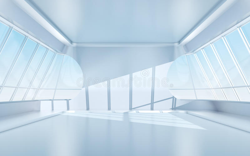 Pièce futuriste avec les hublots ovales illustration libre de droits