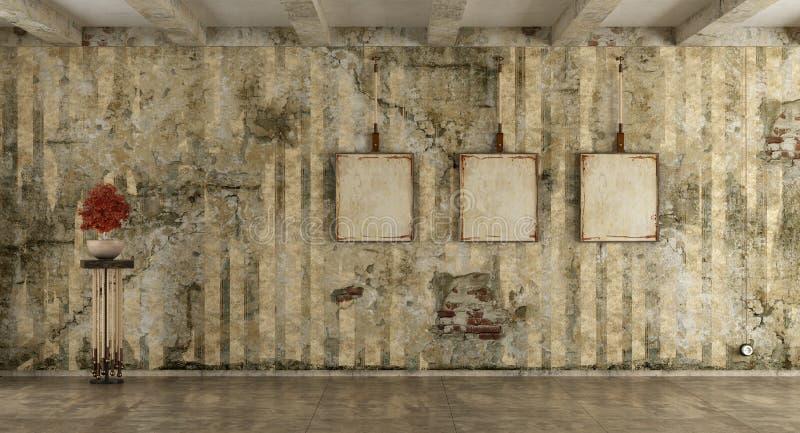 Pièce grunge avec le vieux mur illustration de vecteur