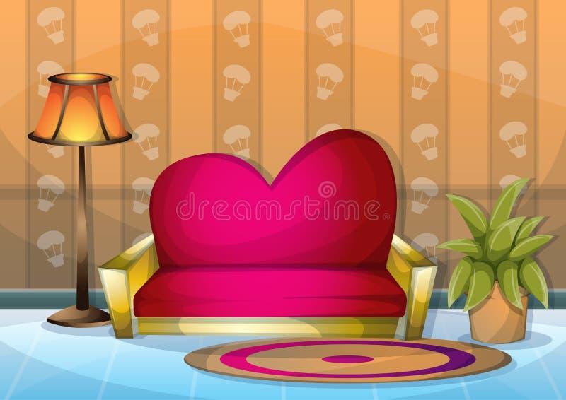 Pièce intérieure de valentine d'illustration de vecteur de bande dessinée avec des couches séparées illustration de vecteur