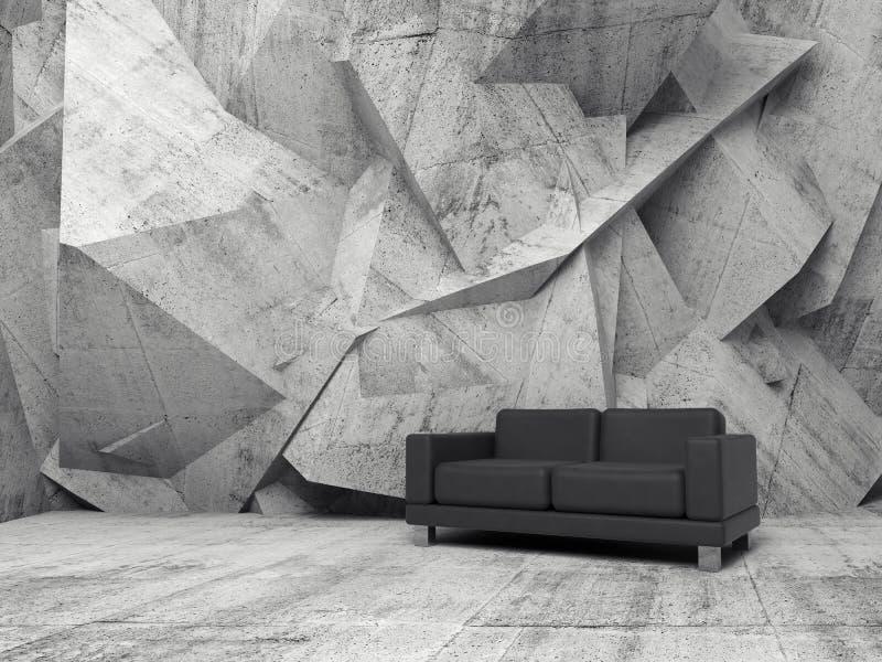 Pièce intérieure et concrète abstraite avec le sofa noir illustration de vecteur