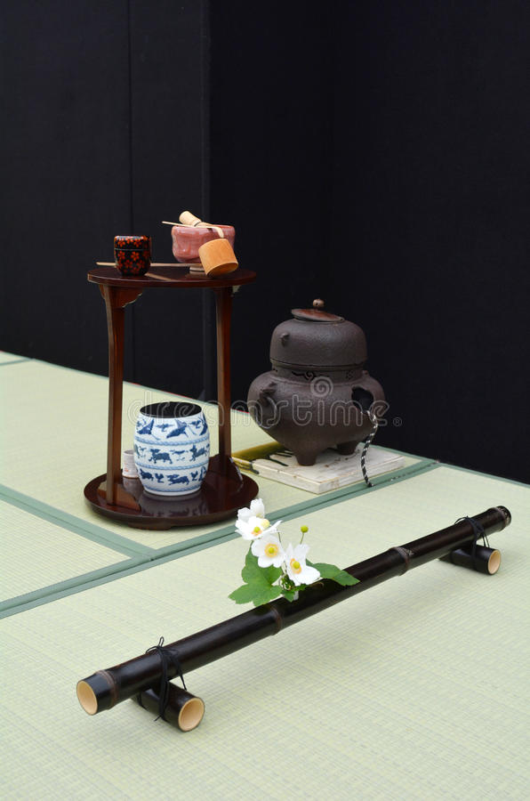Pièce japonaise de cérémonie de thé photographie stock libre de droits