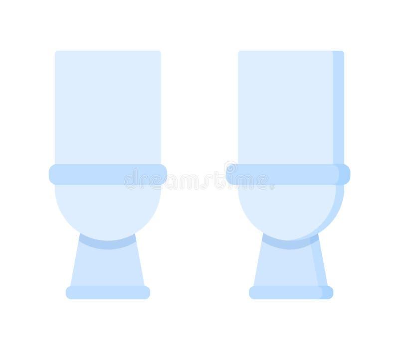 Pièce légère de toilette Meubles à la maison, toilettes réalistes de céramique blanche, accessoires illustration libre de droits