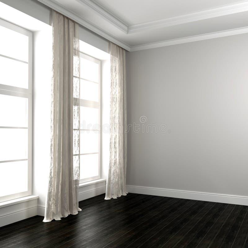 Pièce lumineuse avec le plancher sombre photo stock