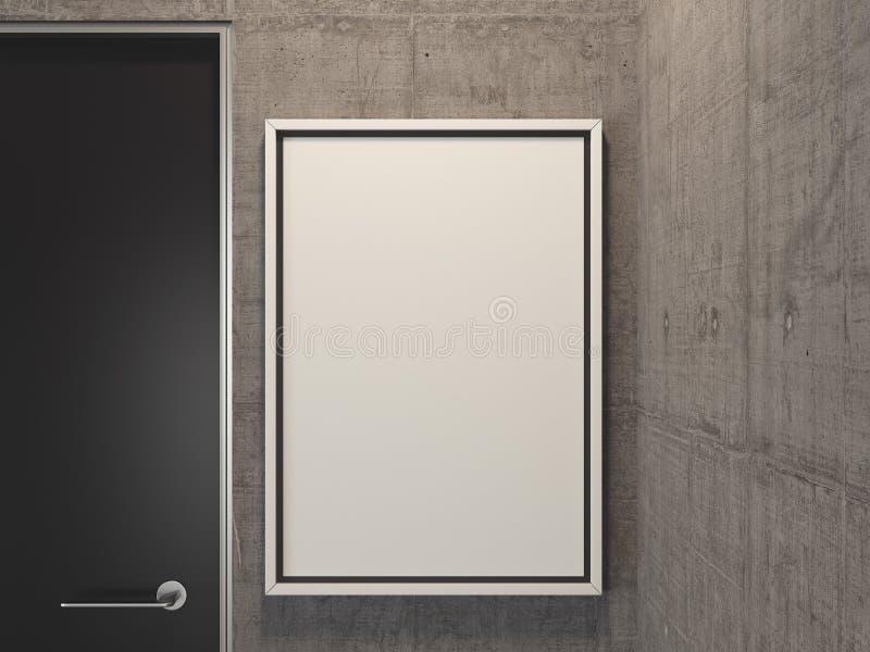 Pièce lumineuse moderne avec les murs gris, le panneau d'affichage vide et la porte noire, rendu 3d illustration stock