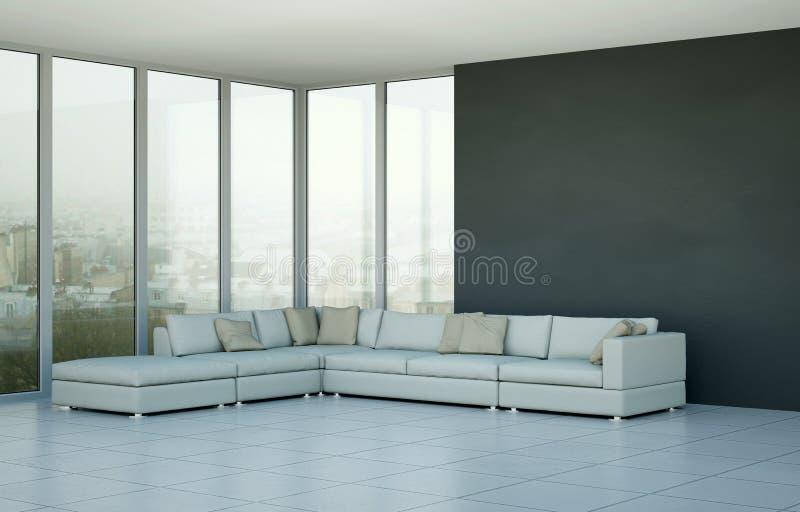 Pièce lumineuse moderne de conception intérieure avec le sofa blanc illustration stock