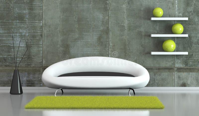 Pièce lumineuse moderne de conception intérieure avec le sofa blanc photographie stock libre de droits